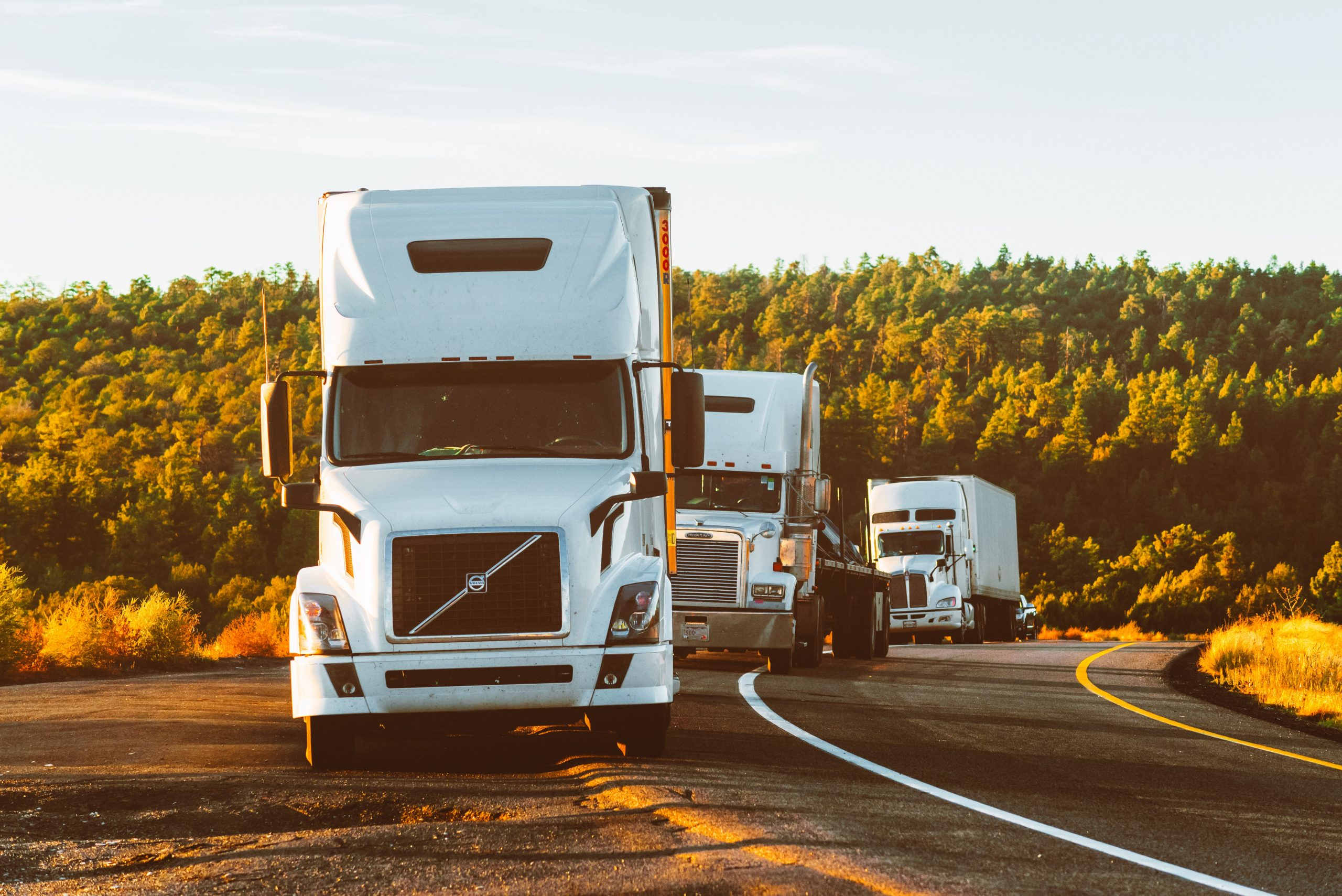 white volvo semi truck on side of road 2199293 2 scaled