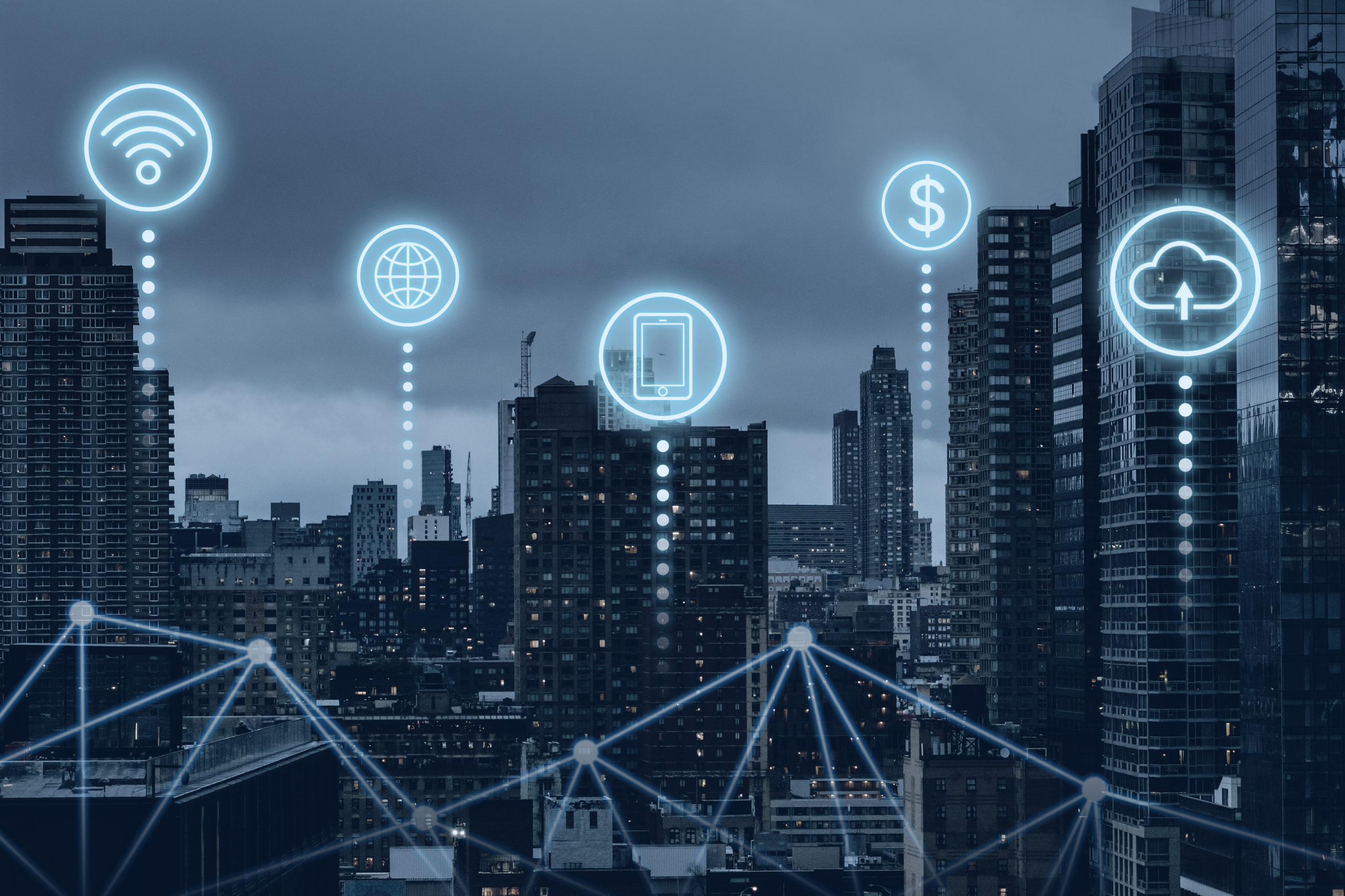 futuristic smart city with 5g global network technology scaled