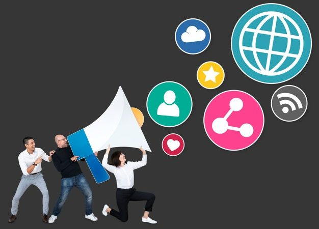 people with megaphone social media marketing icons 53876 65646